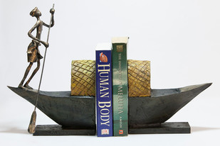Figure on boat Bookend Book End By THE ART SPA