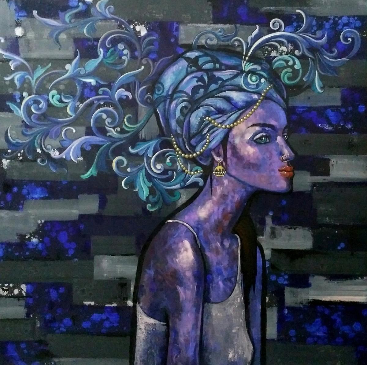 At leisure by Suruchi Jamkar, Pop Art Painting, Acrylic on Canvas, Blue color