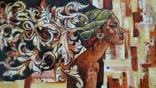 The beauty is in the mind by Suruchi Jamkar, Pop Art Painting, Acrylic on Canvas, Brown color