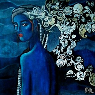 Designs of a beautiful mind by Suruchi Jamkar, Pop Art Painting, Acrylic & Ink on Canvas, Blue color