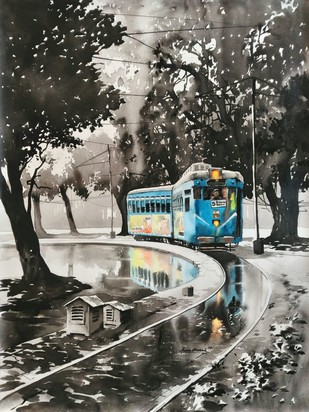 KOLKATA CITY SCAPE - NATURE-3 by Arpan bhowmik, Impressionism Painting, Acrylic on Canvas, Gray color