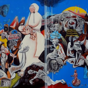Bhopal Gas tragedy by Mahesh Pal Gobra, Expressionism Painting, Acrylic on Canvas, Blue color