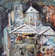 The Institution by Viraag Desai, Impressionism Painting, Mixed Media on Board, Gray color