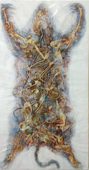 Carapace by Viraag Desai, Abstract Painting, Mixed Media on Canvas, Gray color