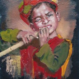 Sugarcane Boy Digital Print by Sreenivasa Ram Makineedi,Realism
