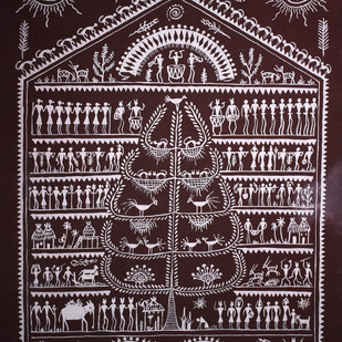 Saura Painting by Unknown Artist, Folk Painting, Acrylic on Paper, Brown color