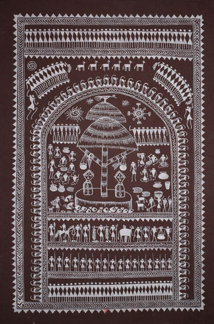 Saura Painting by Unknown Artist, Traditional Painting, Acrylic on Paper, Brown color