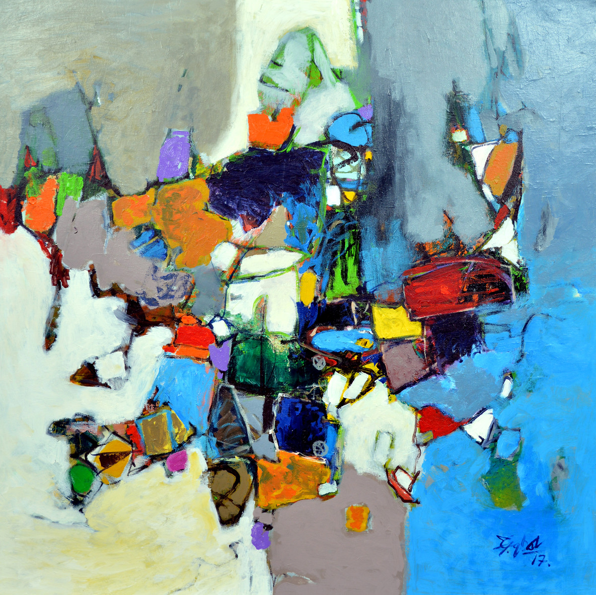 nostalgic by Javid Iqbal, Abstract Painting, Acrylic on Canvas, Cyan color