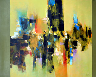 urbanization by Javid Iqbal, Abstract Painting, Acrylic on Canvas, Beige color