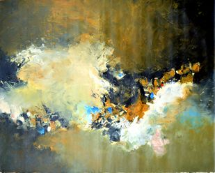 Mystic Fusion by Javid Iqbal, Abstract Painting, Acrylic on Canvas, Beige color