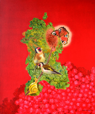 Song of April by Debabrata Hazra, Photorealism Painting, Oil on Canvas, Red color