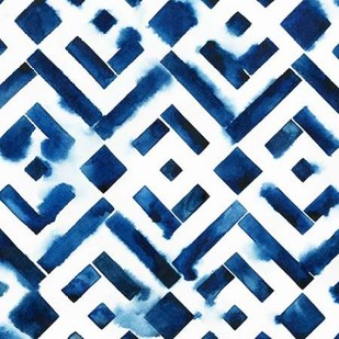 Cobalt Watercolor Tiles II Digital Print by Popp, Grace,Decorative