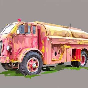 Painterly Firetruck Digital Print by Kalina, Emily,Art Deco