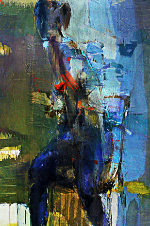 Take a look at me now by Gopal Mehan, Abstract Painting, Mixed Media on Canvas, Green color