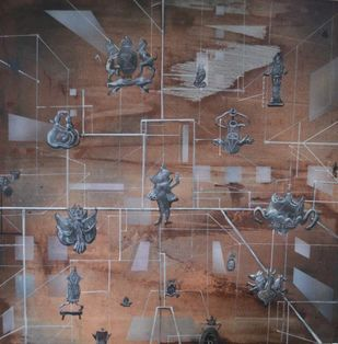 Tradition by Viraag Desai, Surrealism Painting, Mixed Media on Canvas, Brown color