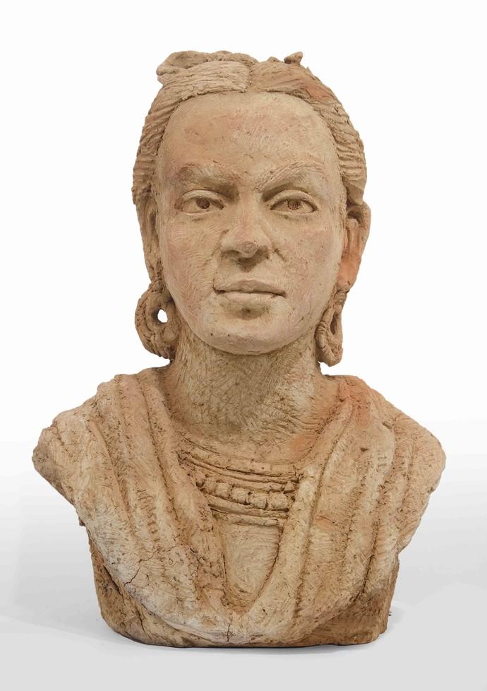 Frida-inspired by Ram Kumar Manna, Art Deco Sculpture | 3D, Terracotta, Brown color