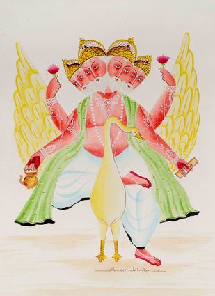 """Brahma on goose"" by Bhaskar Chitrakar, Traditional Painting, Natural colours on paper, Cyan color"