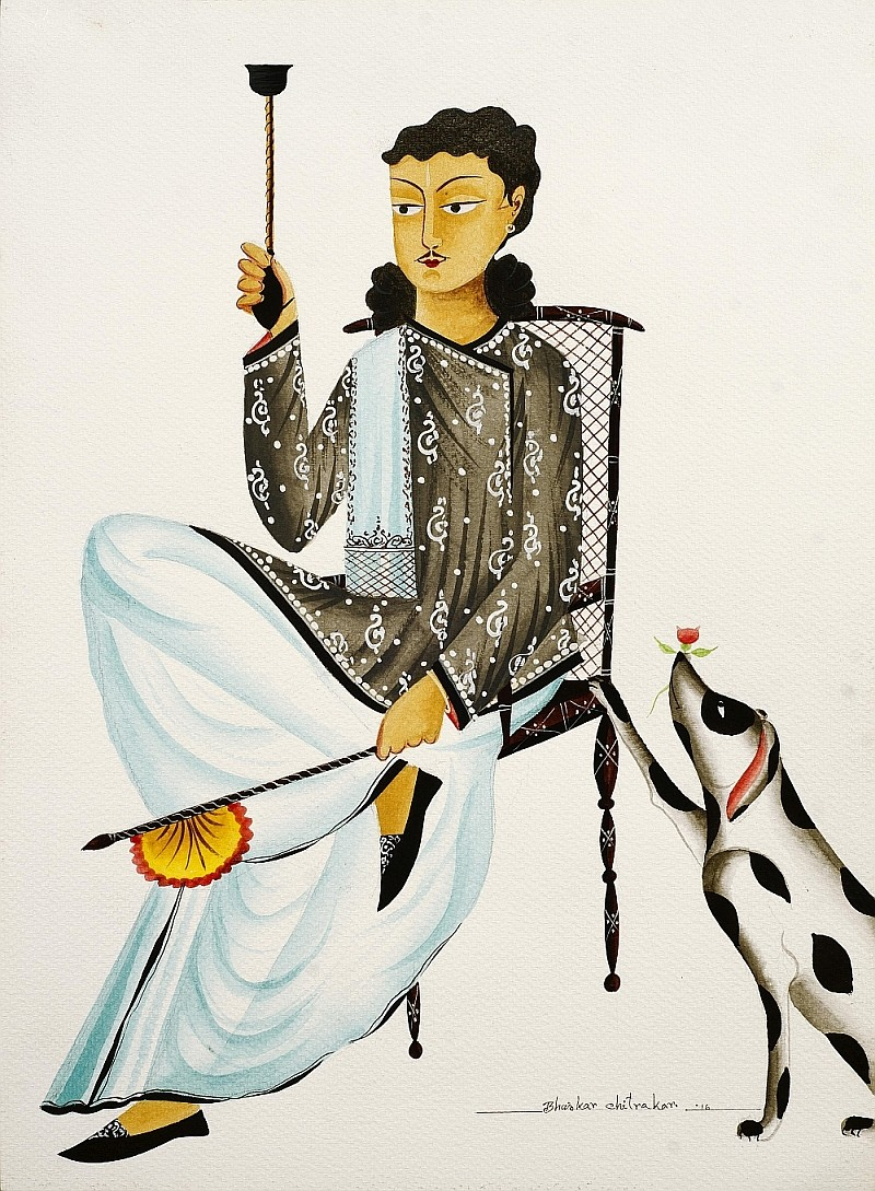 Babu, seated, with hookah fan and dog by Bhaskar Chitrakar, Traditional Painting, Natural colours on paper, Gray color