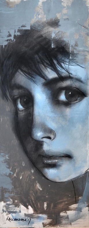 Innocence II by Kanchanmala Ghosh, Expressionism Painting, Acrylic & Graphite on Canvas, Gray color