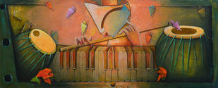 RANG BARSE by anupam pal, Decorative Painting, Acrylic on Canvas, Brown color