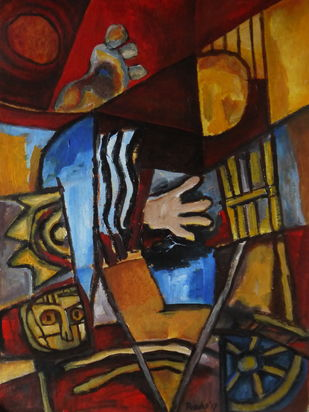 Untitled by Pradip Chaudhuri, Expressionism Painting, Acrylic on Paper, Brown color