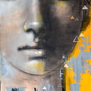 Unspoken Words - I by Kanchanmala Ghosh, Impressionism Painting, Acrylic & Graphite on Canvas, Gray color