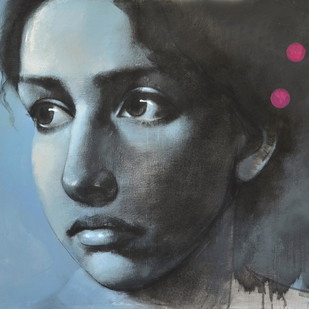 Pink Circles by Kanchanmala Ghosh, Realism Painting, Acrylic & Graphite on Canvas, Gray color