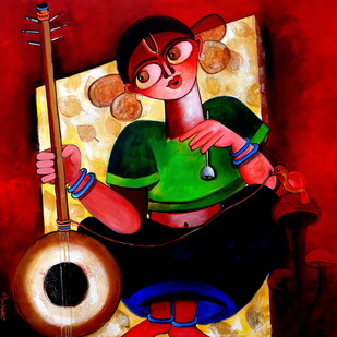 Baishnabi by Sharmi Dey, Expressionism Painting, Acrylic on Canvas, Brown color