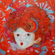 The Innocence iii by shiv kumar soni, Expressionism Painting, Oil & Acrylic on Canvas, Red color