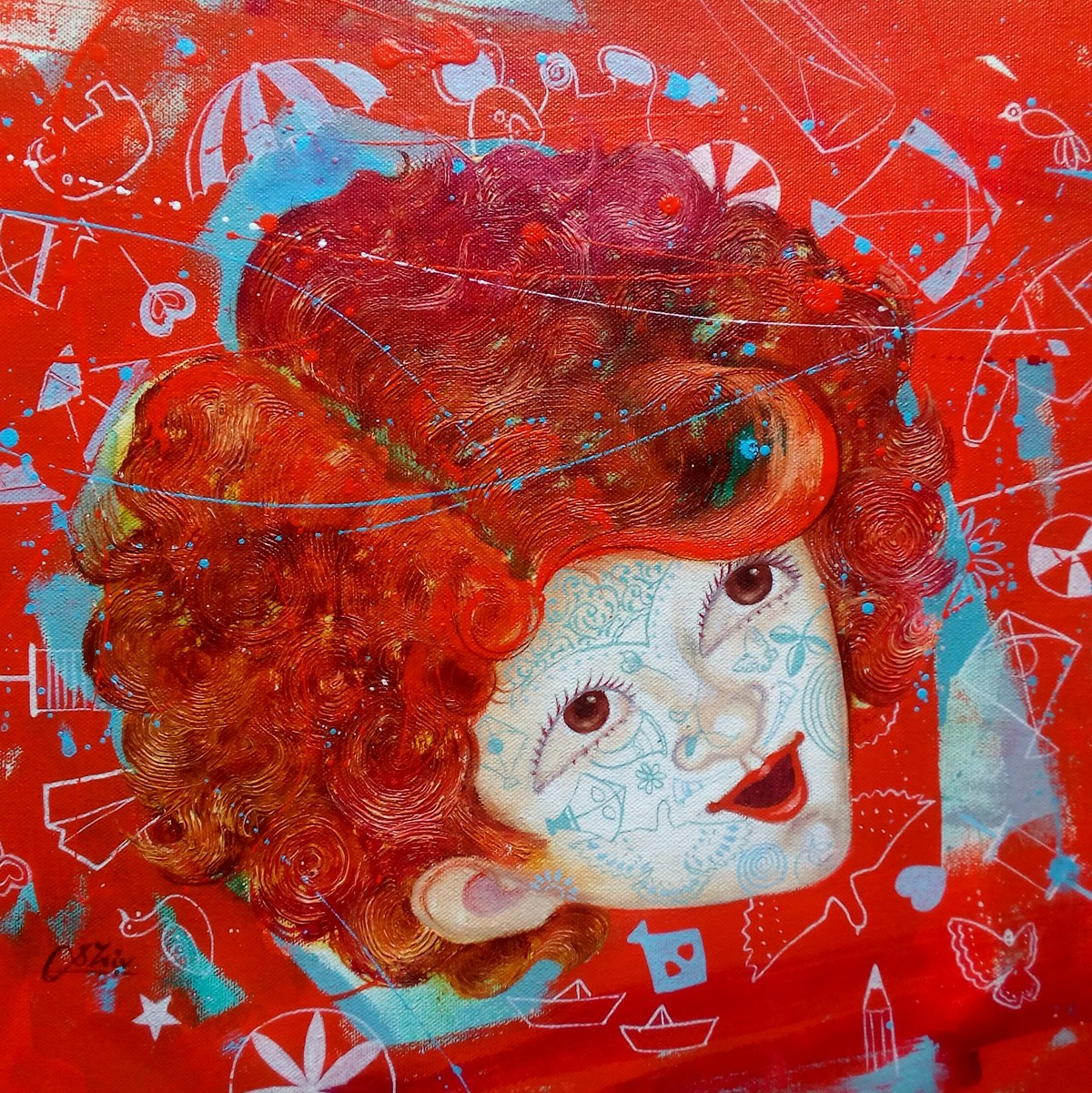 The Innocence iv by shiv kumar soni, Expressionism Painting, Oil & Acrylic on Canvas, Red color
