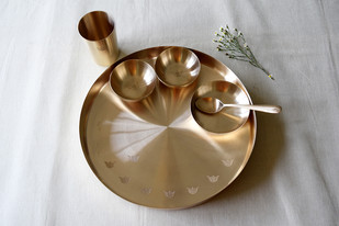 Tulsi Kansa Platter by , Contemporary Serveware, Bronze, Gray color
