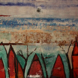 Kochi - II by Pratap SJB Rana, Expressionism Painting, Acrylic on Canvas, Brown color