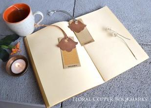 Floral Copper Bookmarks (Set of 2) Accessories By Studio Coppre