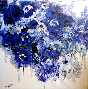 invincible summer series 1 by shivangi Pandey, Impressionism Painting, Acrylic on Canvas, Blue color