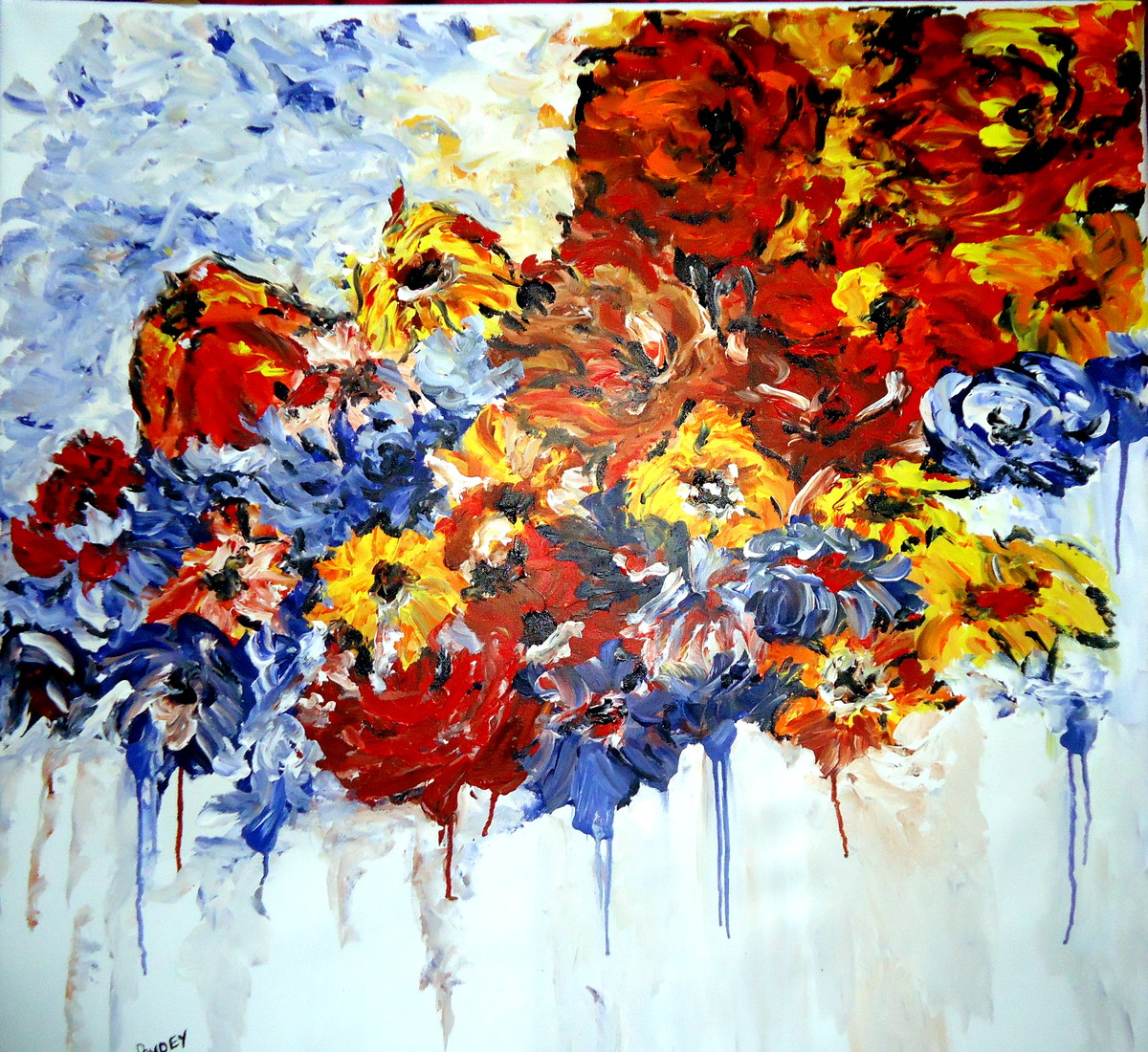 love blooming in nature series 1 by shivangi Pandey, Impressionism Painting, Acrylic on Canvas, Cyan color