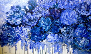 invincible summer series 4 by shivangi Pandey, Impressionism Painting, Acrylic on Canvas, Blue color