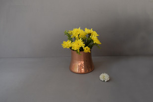 Rosa Vase by , Contemporary Decorative Vase, Copper, Gray color