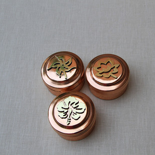 Indus Flora Miniature Box Set by Studio Coppre, Contemporary Decorative Box, Copper, Gray color
