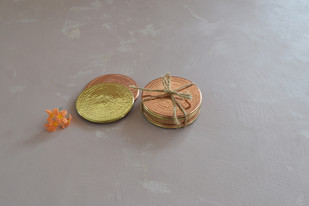 Coaster Set by , Contemporary Accessories, Copper, Gray color