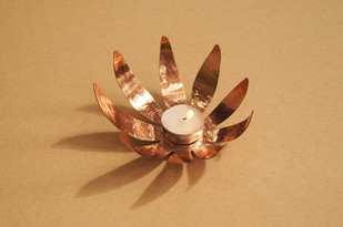 Sunflower Tea Light by , Contemporary T-Light and Votive Holder, Copper, Beige color