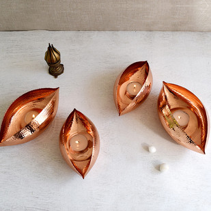 Copper Pod Large T-Light and Votive Holder By Studio Coppre