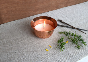 Earthlore Tea light by , Contemporary T-Light and Votive Holder, Copper, Gray color