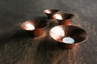 Little Glimmer - Tea Light by , Contemporary T-Light and Votive Holder, Copper, Brown color