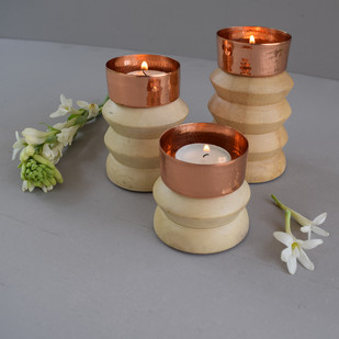 Dusklight Large by , Contemporary T-Light and Votive Holder, Copper, Gray color
