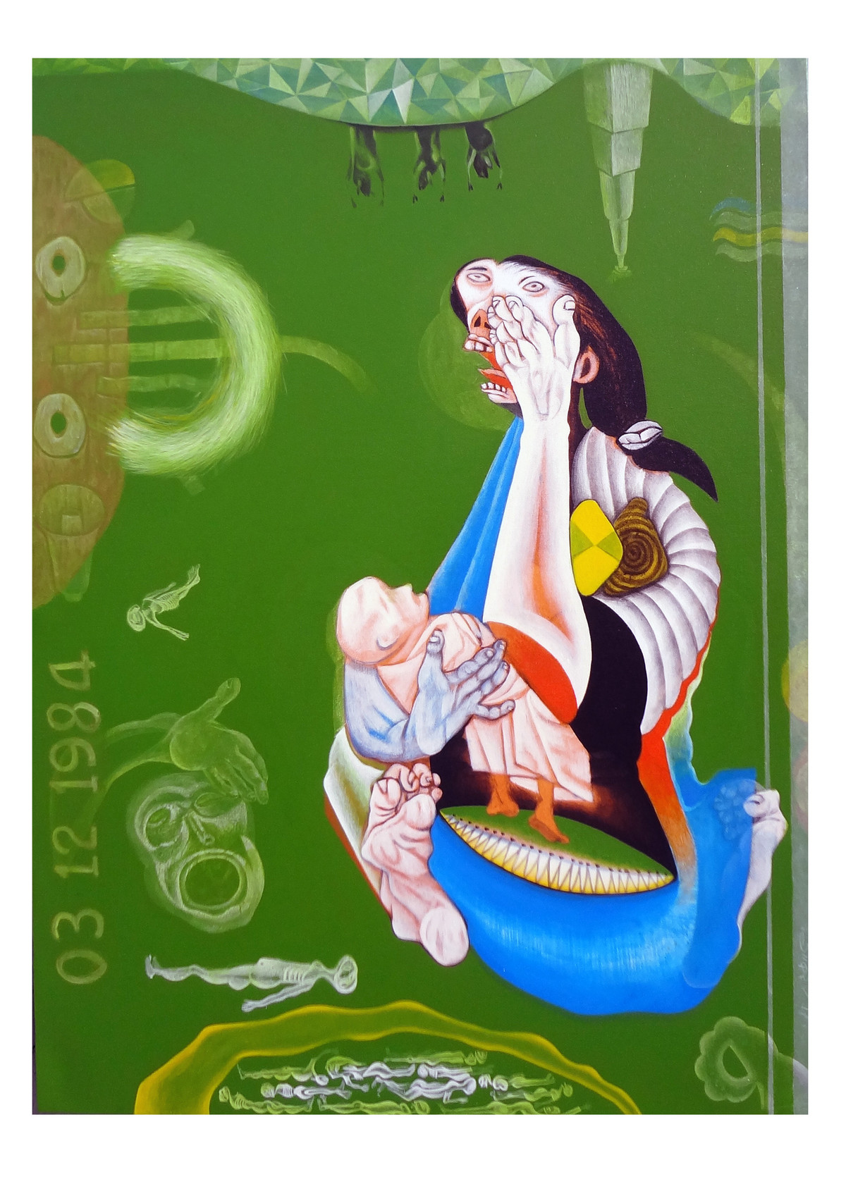 Mother and Child by Mahesh Pal Gobra, Expressionism Painting, Acrylic on Canvas, Green color