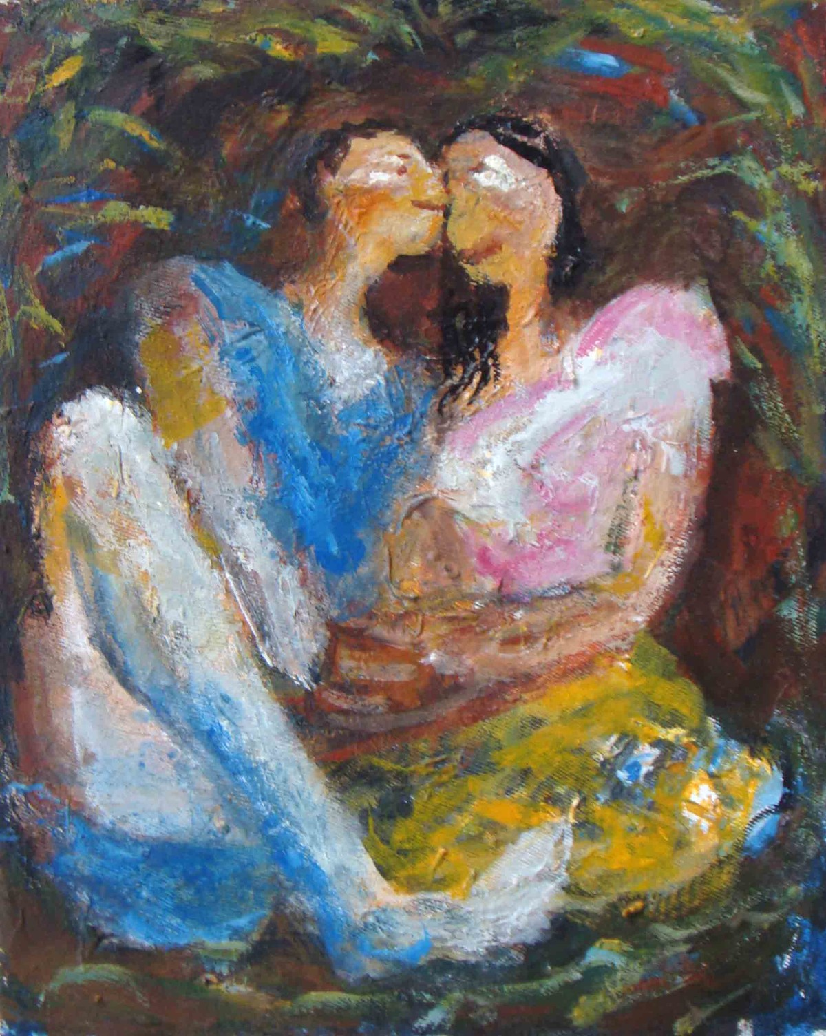 in park by Madhu Dhanuka Jain, Expressionism Painting, Acrylic on Canvas, Brown color