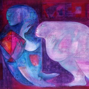 Journey with Kite 1 by Madan Lal, Expressionism Painting, Acrylic on Canvas, Purple color
