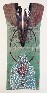Primal Insemination by Lajja Shah, Expressionism Printmaking, Wood Cut on Paper, Gray color