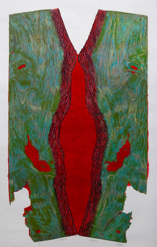 Untitled by Lajja Shah, Conceptual Printmaking, Wood Cut on Paper, Green color