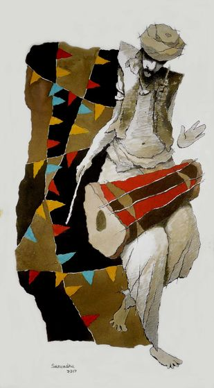 drummer by Surendra Pal Singh, Expressionism Painting, Watercolor on Paper, Gray color